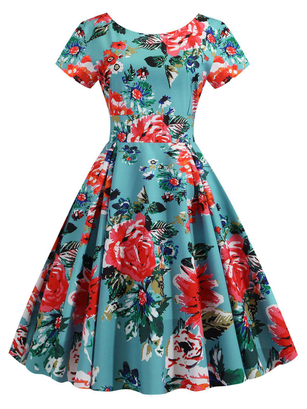 Floral Pleated Detail Fit and Flare Dress - DEEP GREEN S