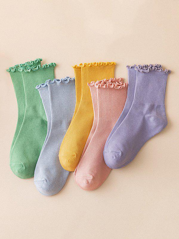 7 Pairs Solid Flounce Crew Socks Set - multicolor A