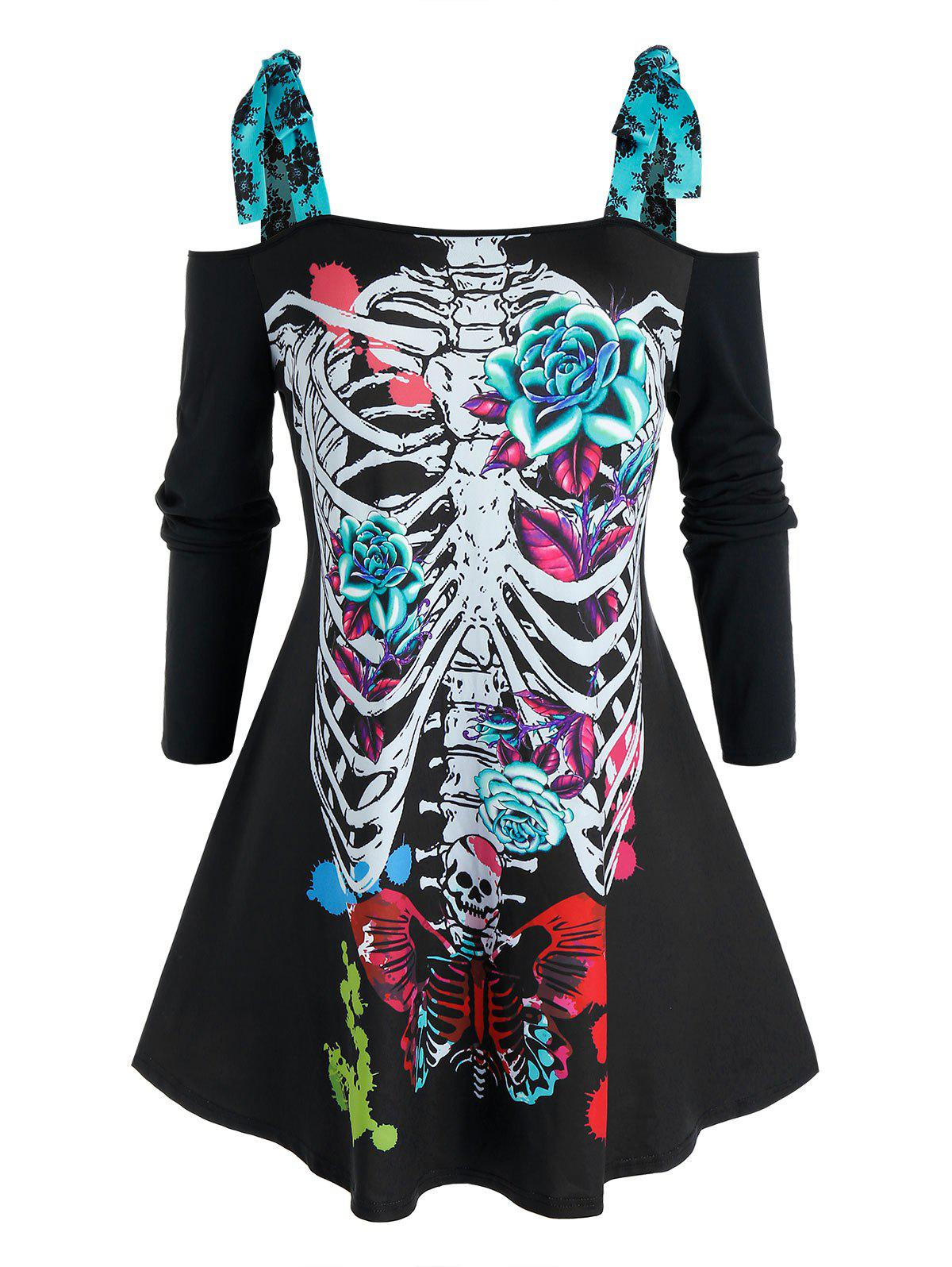 Plus Size Halloween Skeleton Tie Open Shoulder Tee - BLACK 4X