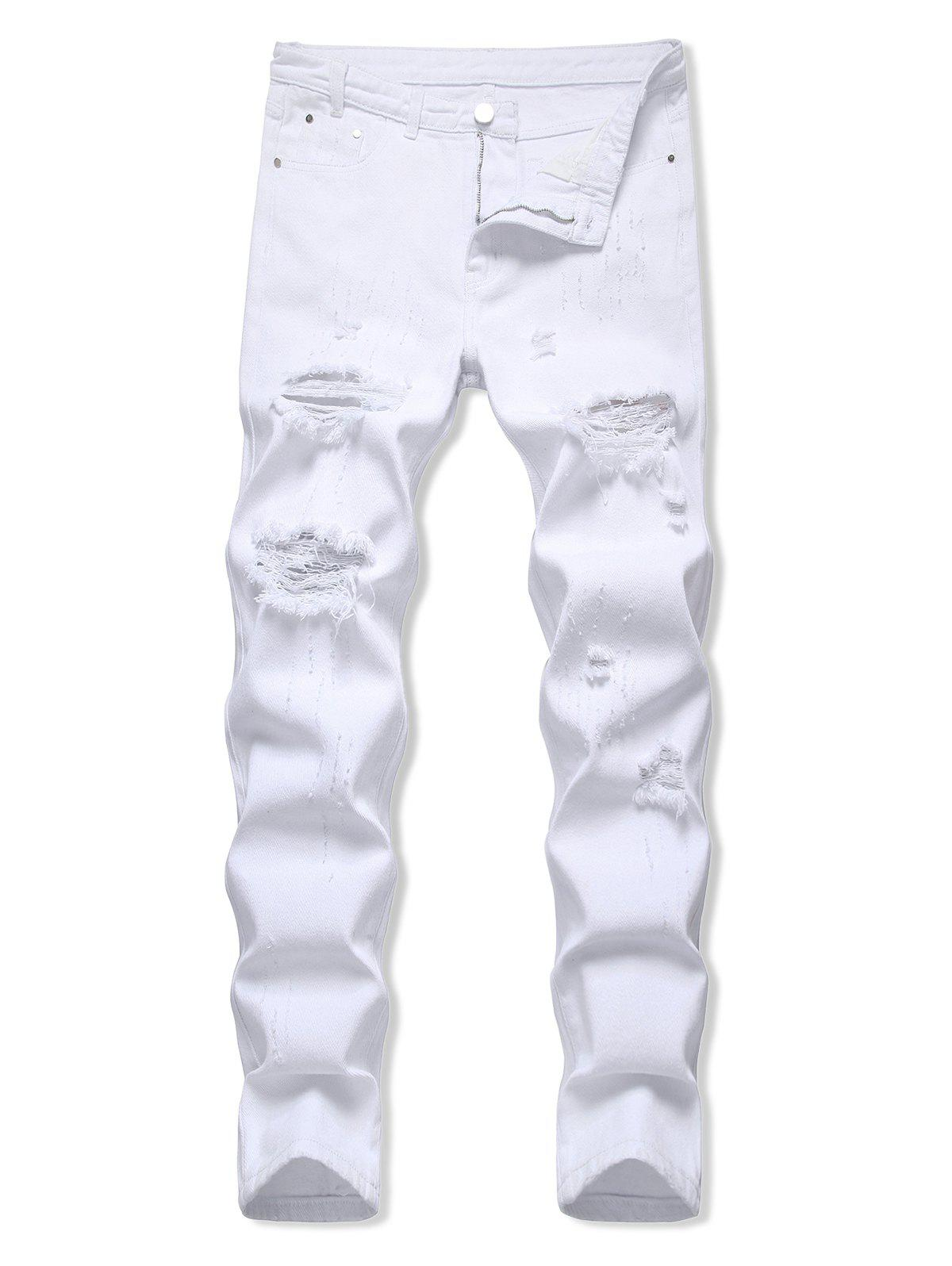 Distressed Zipper Fly Tapered Jeans - WHITE 38