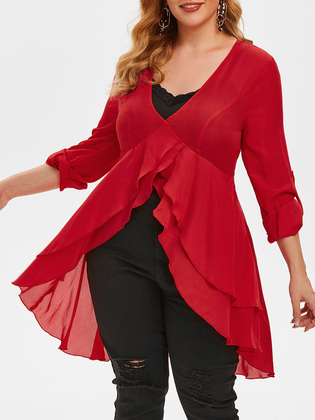 Plus Size High Low Tail Blouse and Tank Top Set - RED 5X