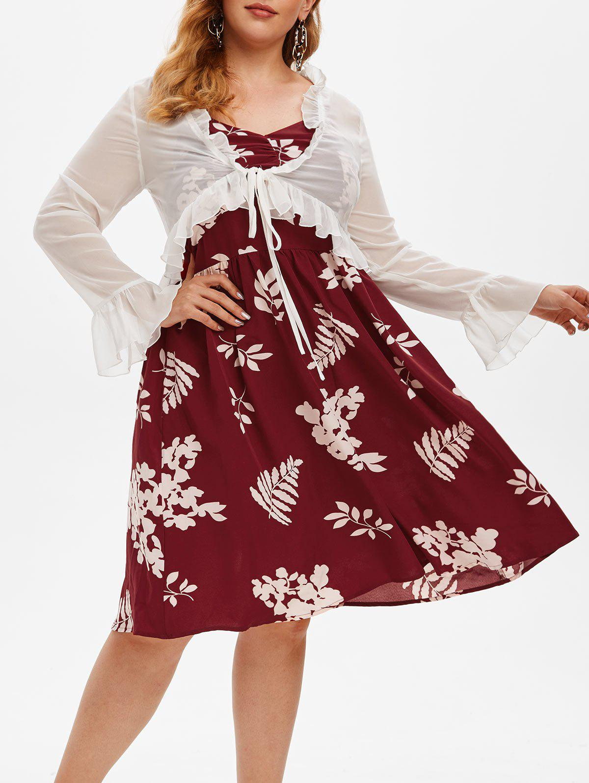 Plus Size Floral Print Dress and Ruffled Top Set - RED WINE 5X
