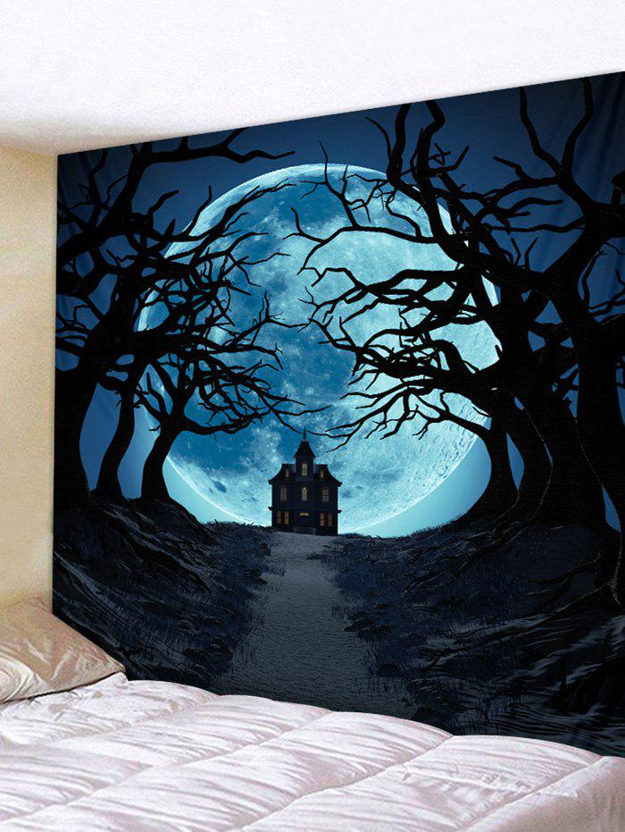 Halloween Moon Path Pattern Wall Tapestry - multicolor W91 X L71 INCH