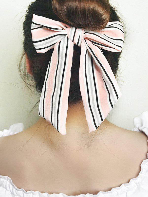 Striped Printed Bowknot Elastic Hair Tie - LIGHT PINK