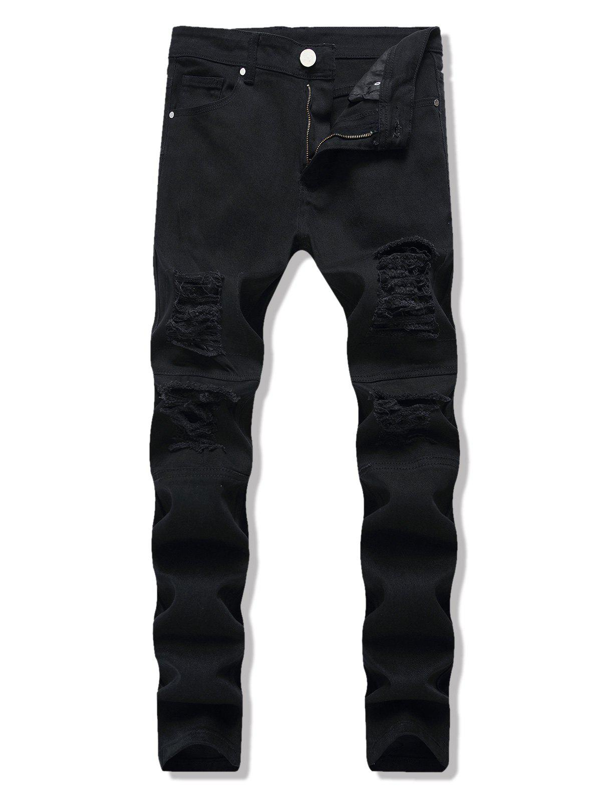 Distressed Dark Wash Tapered Jeans - BLACK 38