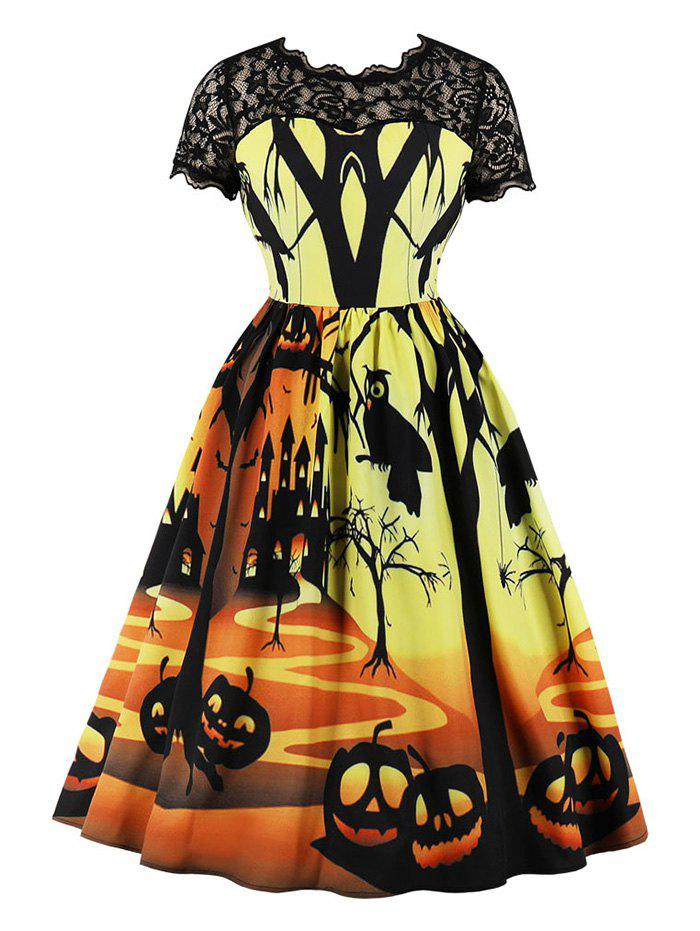 Pumpkin Spider Print Halloween Retro Dress with Lace - multicolor S