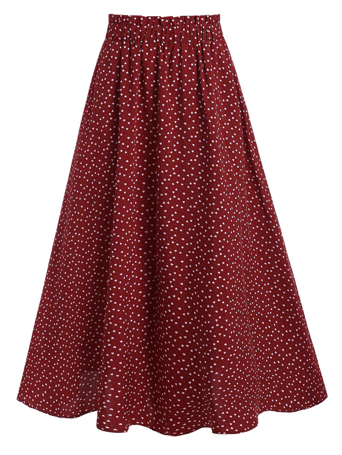 High Waisted Heart Print Midi Skirt - RED WINE XL