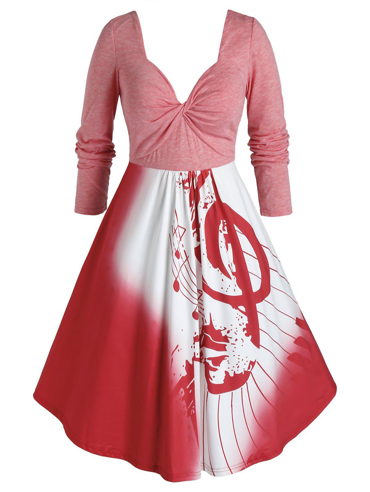Plus Size Twist Musical Notes Long Sleeve Dress - RED 1X