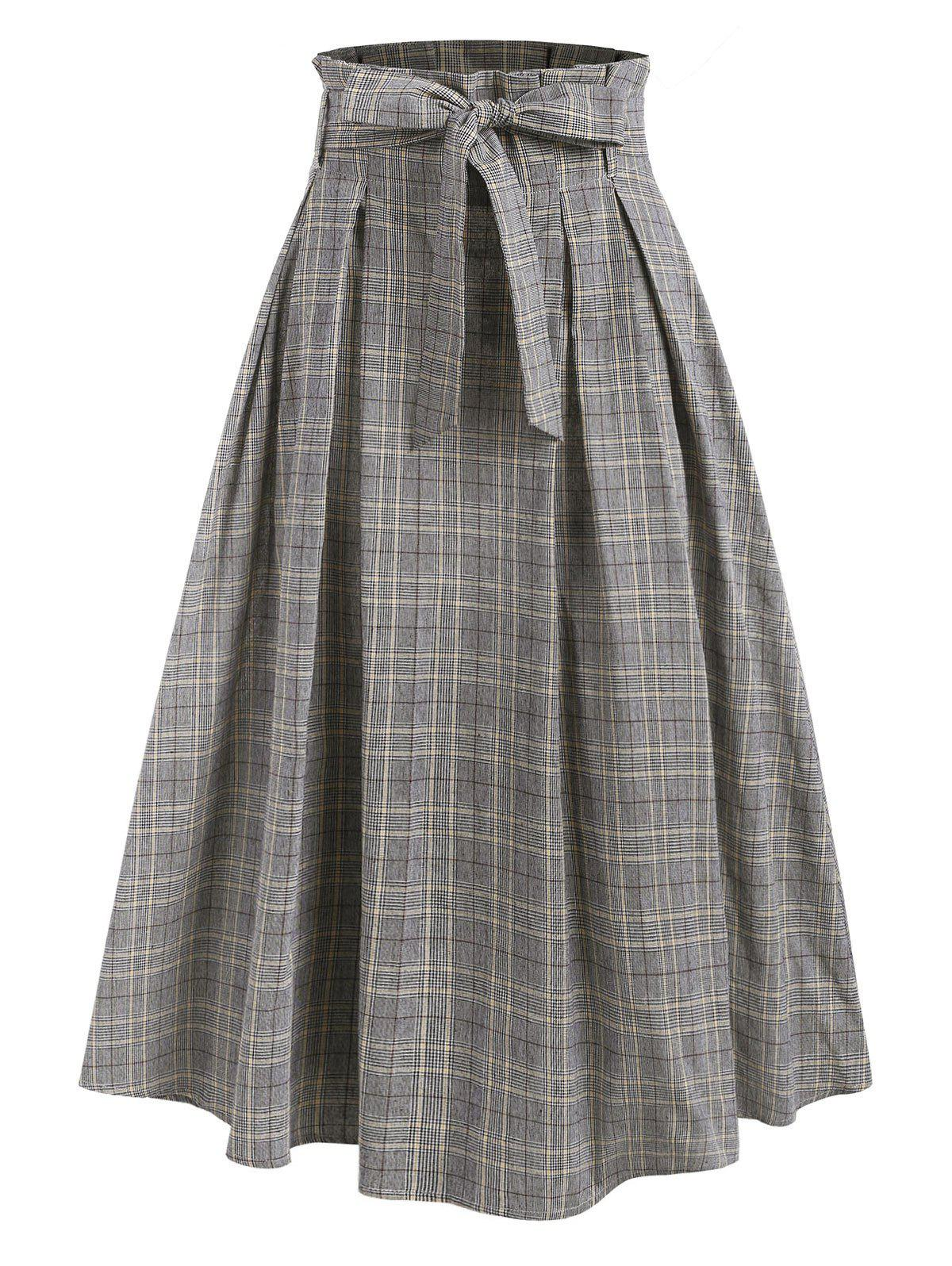 Plaid Print Belted Paperbag Skirt - GRAY M