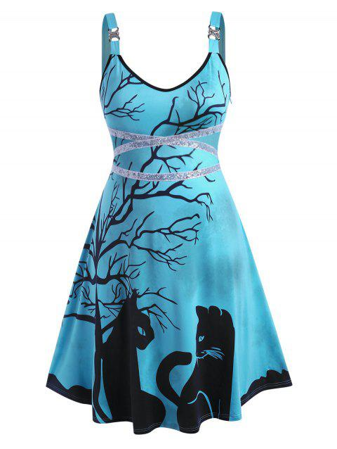 Rhinestone Sequins Tree Cat Print Halloween Plus Size Dress