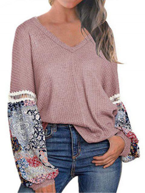 Lantern Sleeve Ethnic Print Textured Knit Sweater