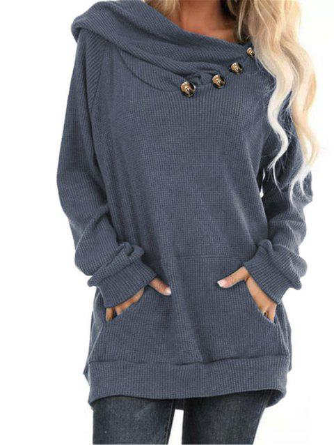 Hooded Mock Button Kangaroo Pocket Knitwear