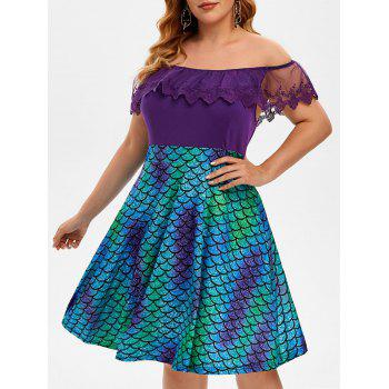 Off Shoulder Embroidered Mesh Panel Mermaid Print Plus Size Dress