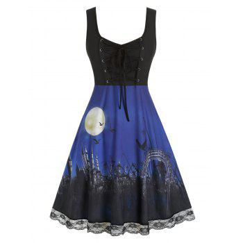 Plus Size Lace Up Halloween Printed Dress