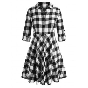 Plaid Tab Sleeve Plus Size Shirt Dress