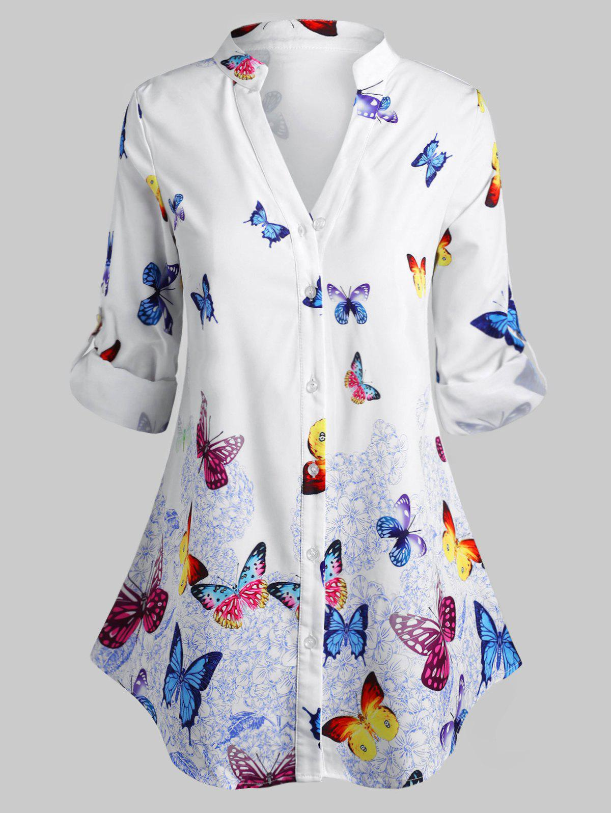Plus Size Roll Up Sleeve Butterfly Print Blouse - WHITE 4X
