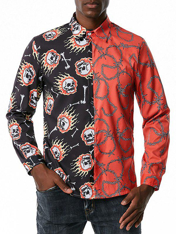 Contrast Skull Chain Print Leisure Long Sleeve Shirt - RED L
