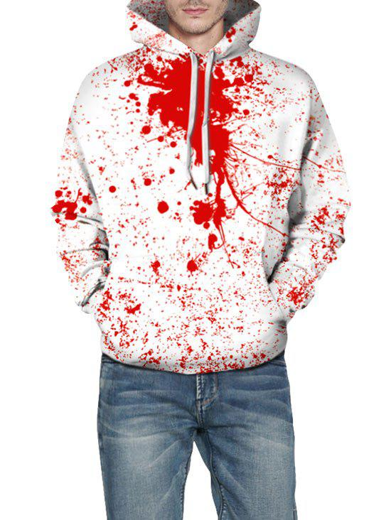 Halloween Blood Splash Print Hoodie - WHITE L