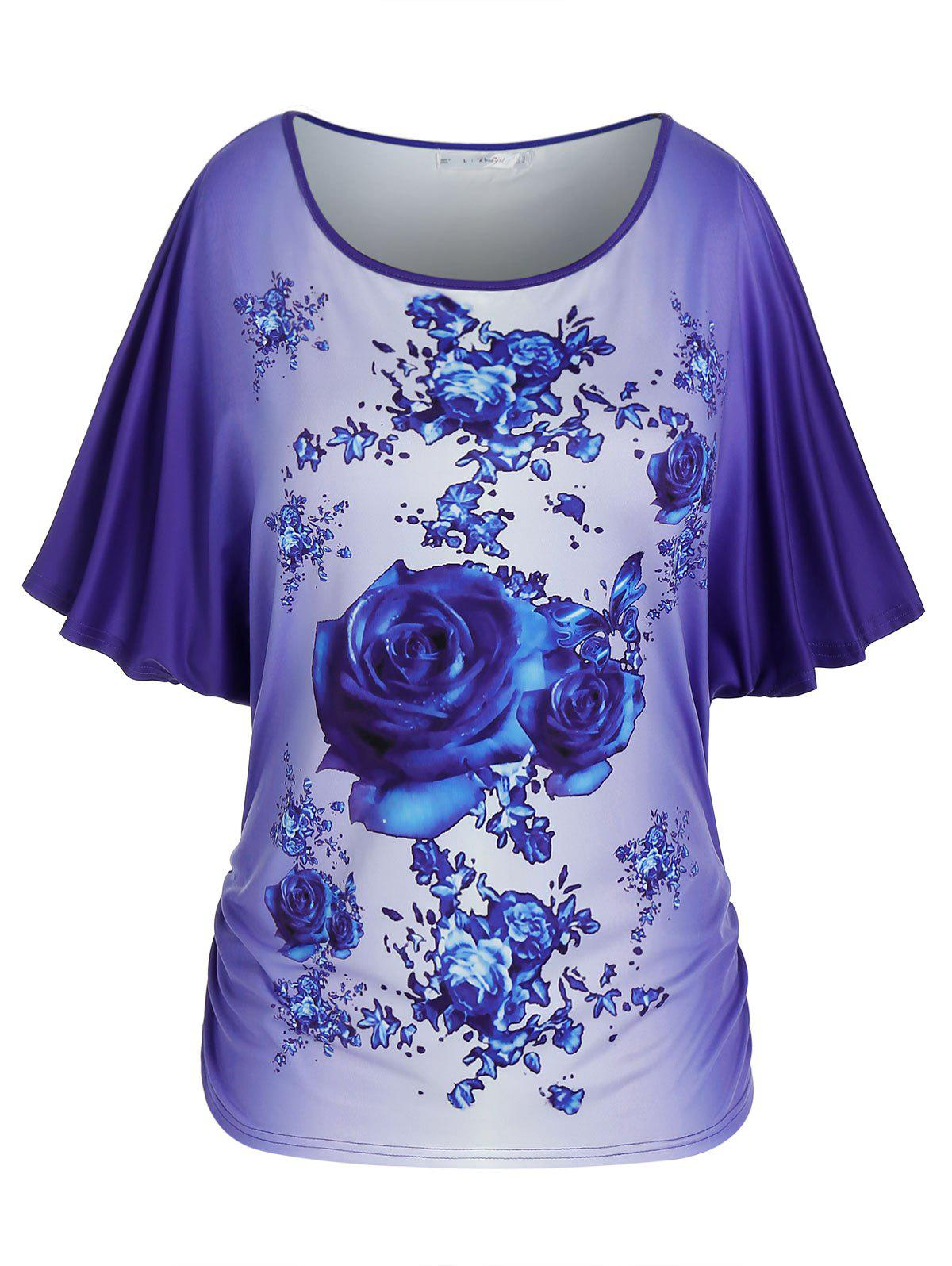 Plus Size Batwing Sleeve Floral Print Ombre Tee - BLUE L