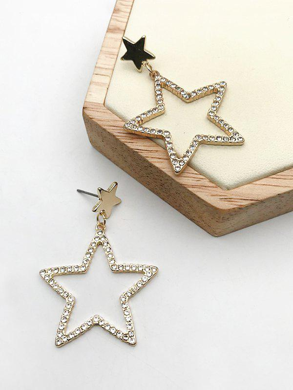 Hollow Star Shape Stud Drop Earrings - GOLDEN