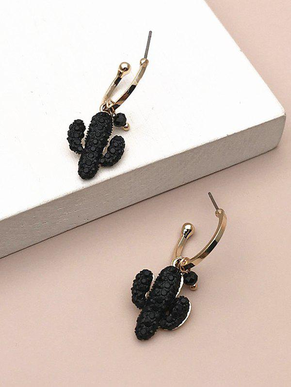 Textured Cactus Shape Drop Earrings - GOLDEN