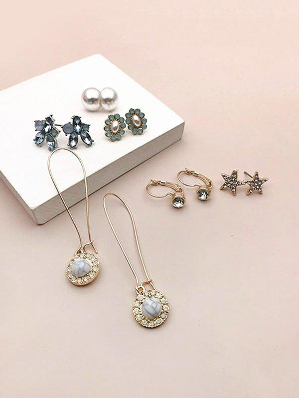 6 Pairs Faux Pearl Gem Star Earrings Set - GOLDEN