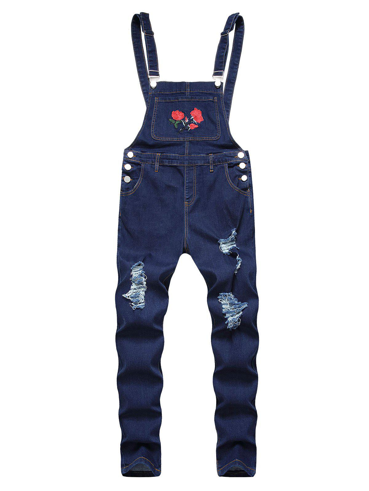Ripped Flower Embroidered Tapered Overall Jeans - DEEP BLUE 36