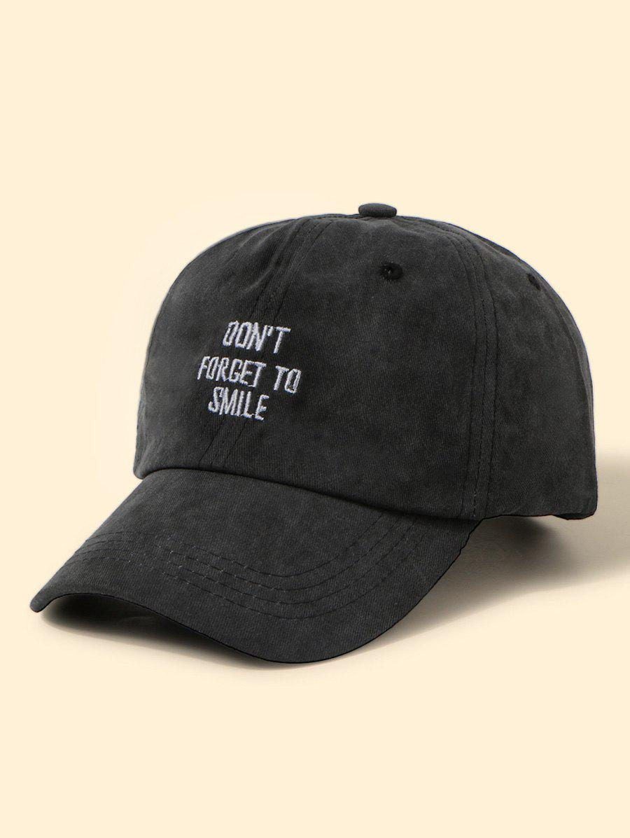 Embroidery Letters Washed Baseball Cap - BLACK