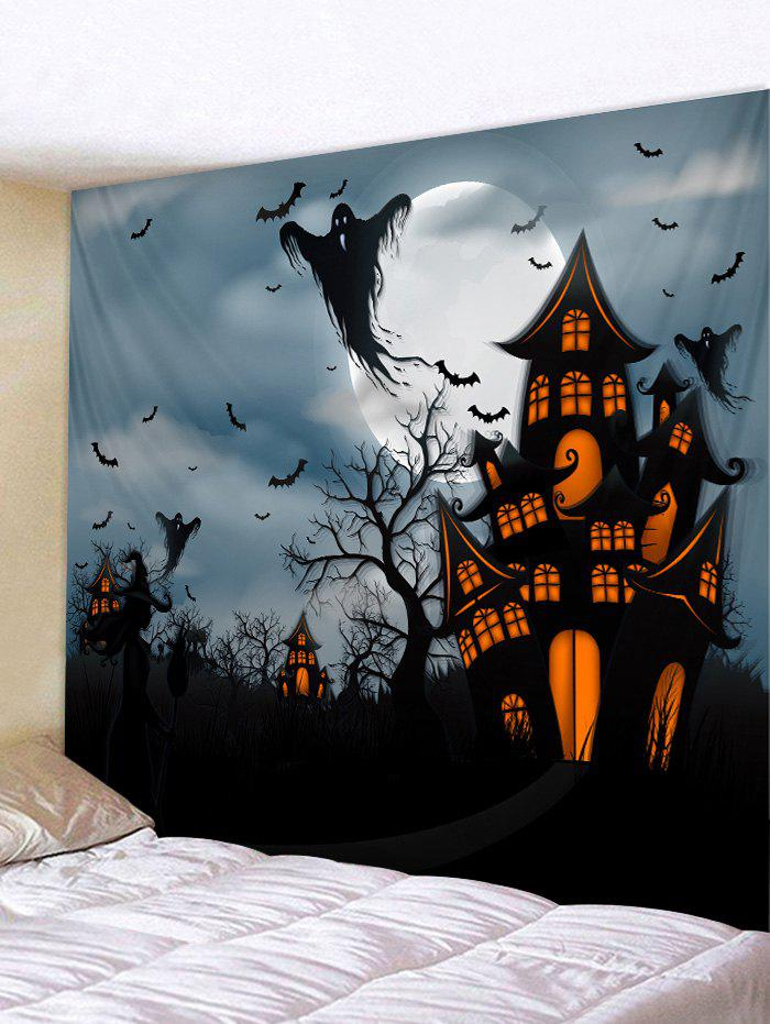 Halloween Night Ghost Bat Pattern Wall Hanging Tapestry - multicolor W91 X L71 INCH