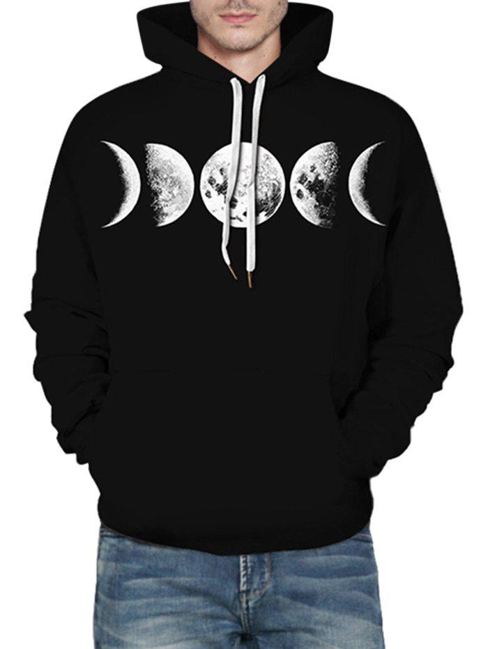 Moon Graphic Front Pocket Casual Hoodie - BLACK 3XL
