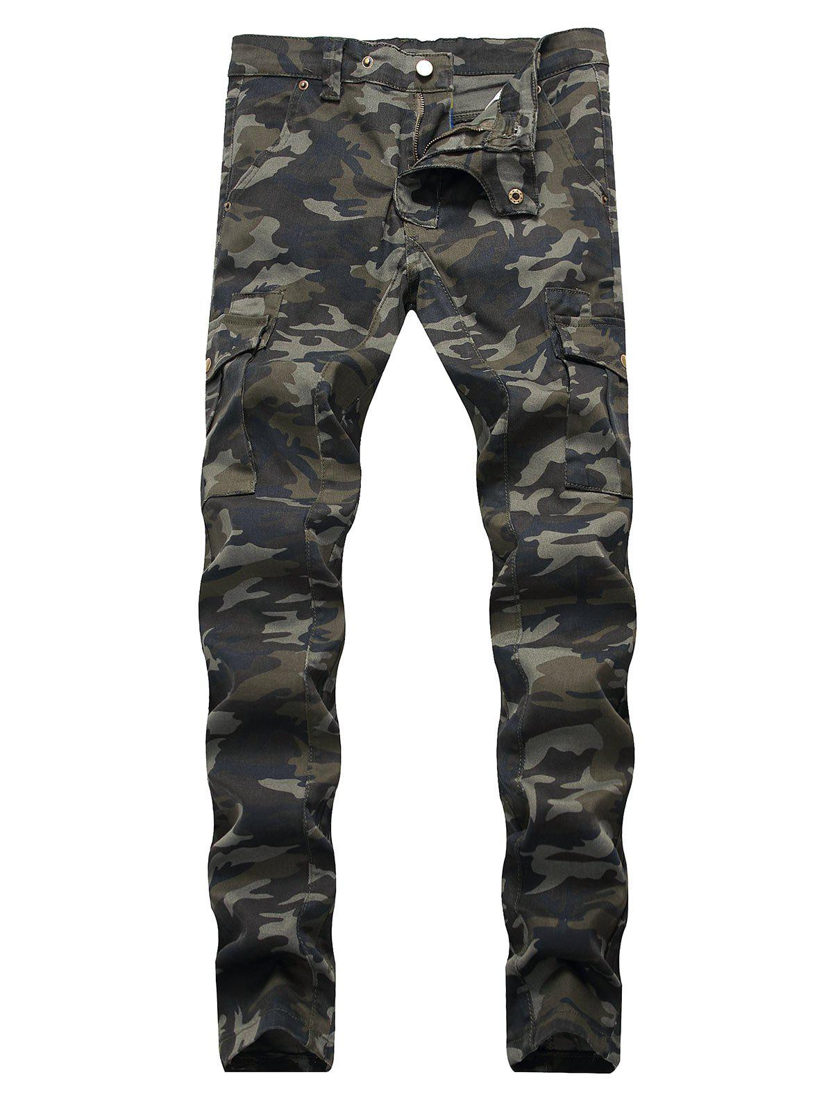 Camouflage Print Tapered Jeans - WOODLAND CAMOUFLAGE 36
