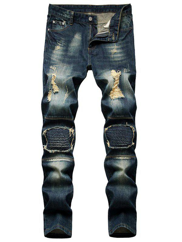 Distressed Dirty Wash Moto Jeans - DEEP BLUE 32