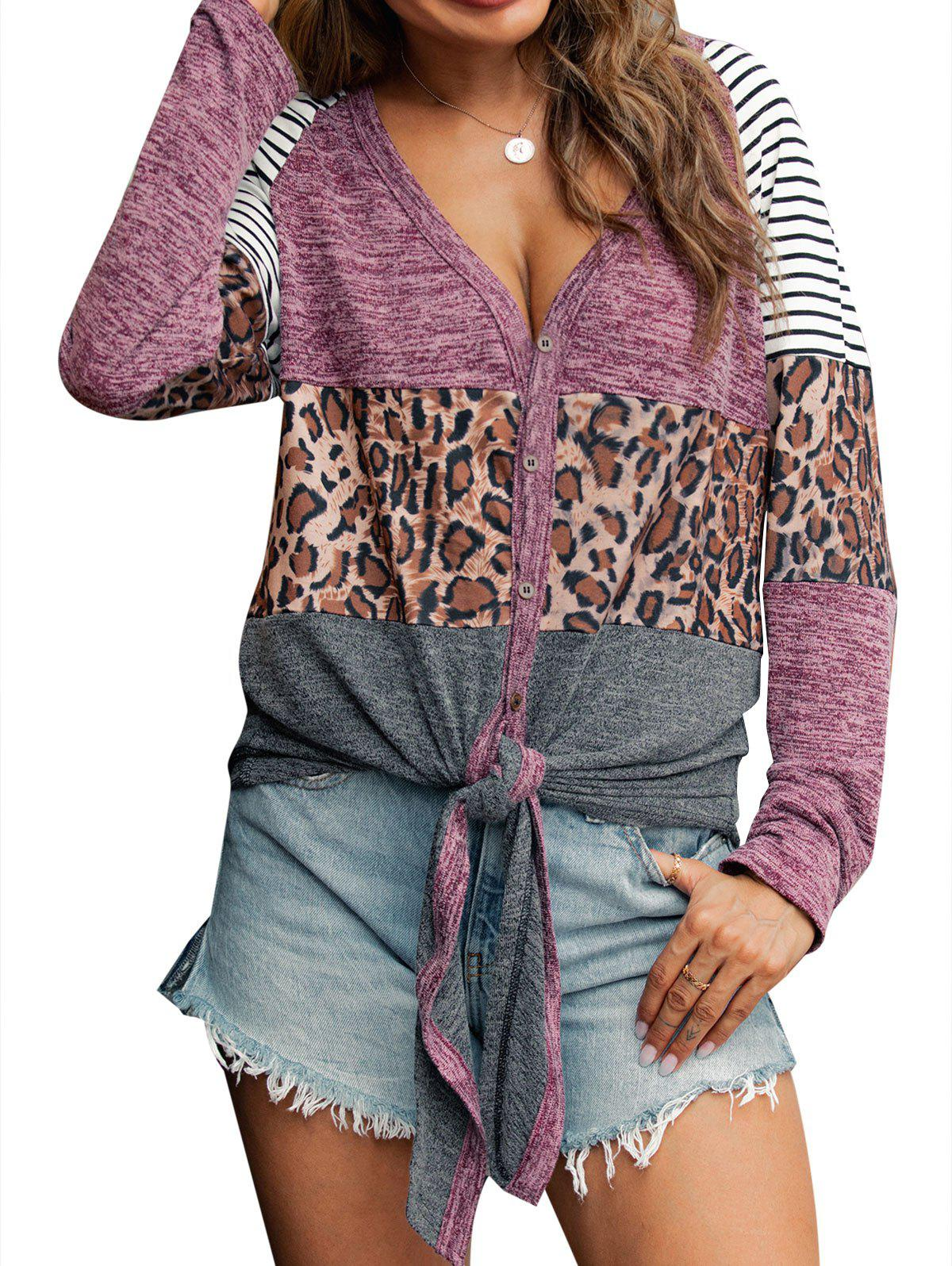 Striped Leopard Heathered Self-tie Knitwear - LIGHT PINK XL