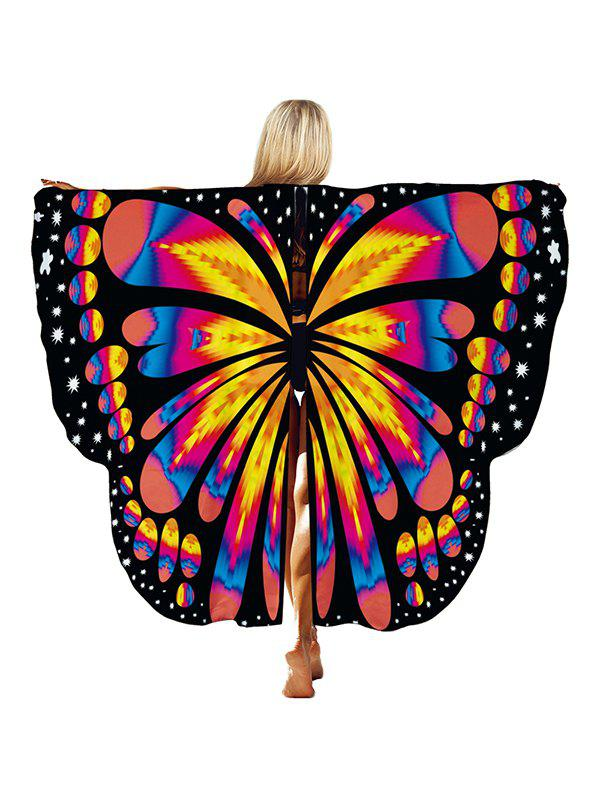Halloween Party Gradient Butterfly Wing Pattern Cape - multicolor D 168*135CM