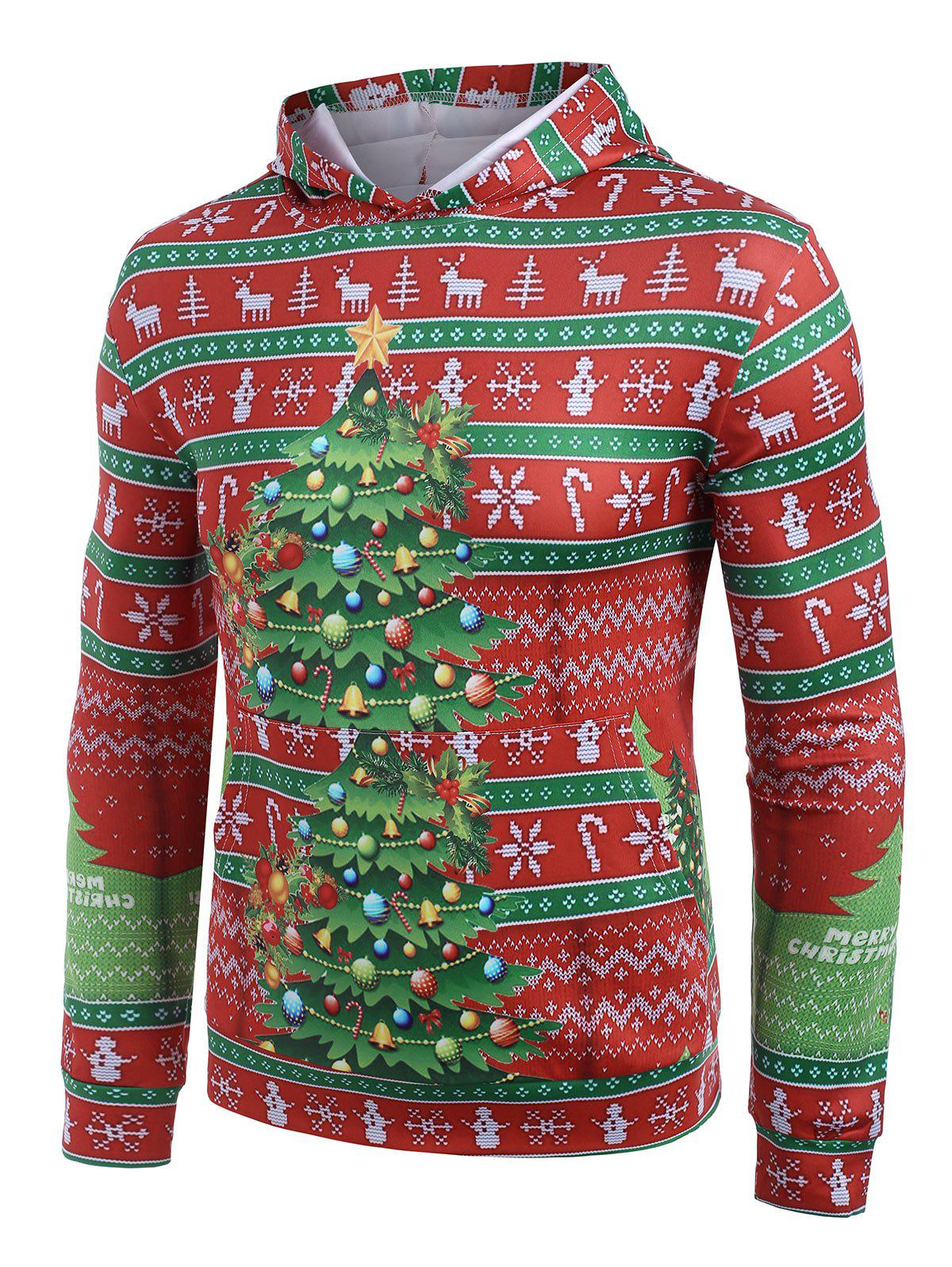 Christmas Tree Candy Snowflakes Print Casual Hoodie - RUBY RED XL
