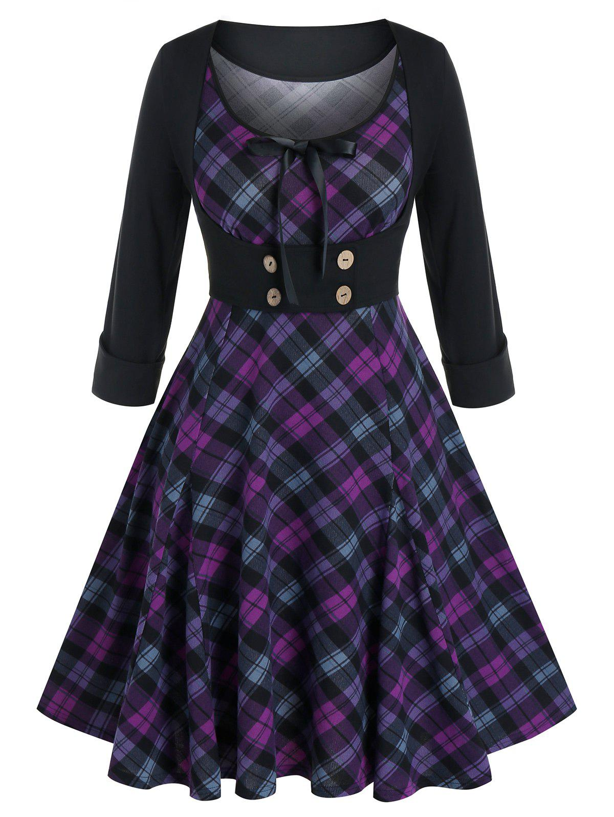 Plus Size Vintage Plaid Dress and Top Set - PURPLE IRIS 5X