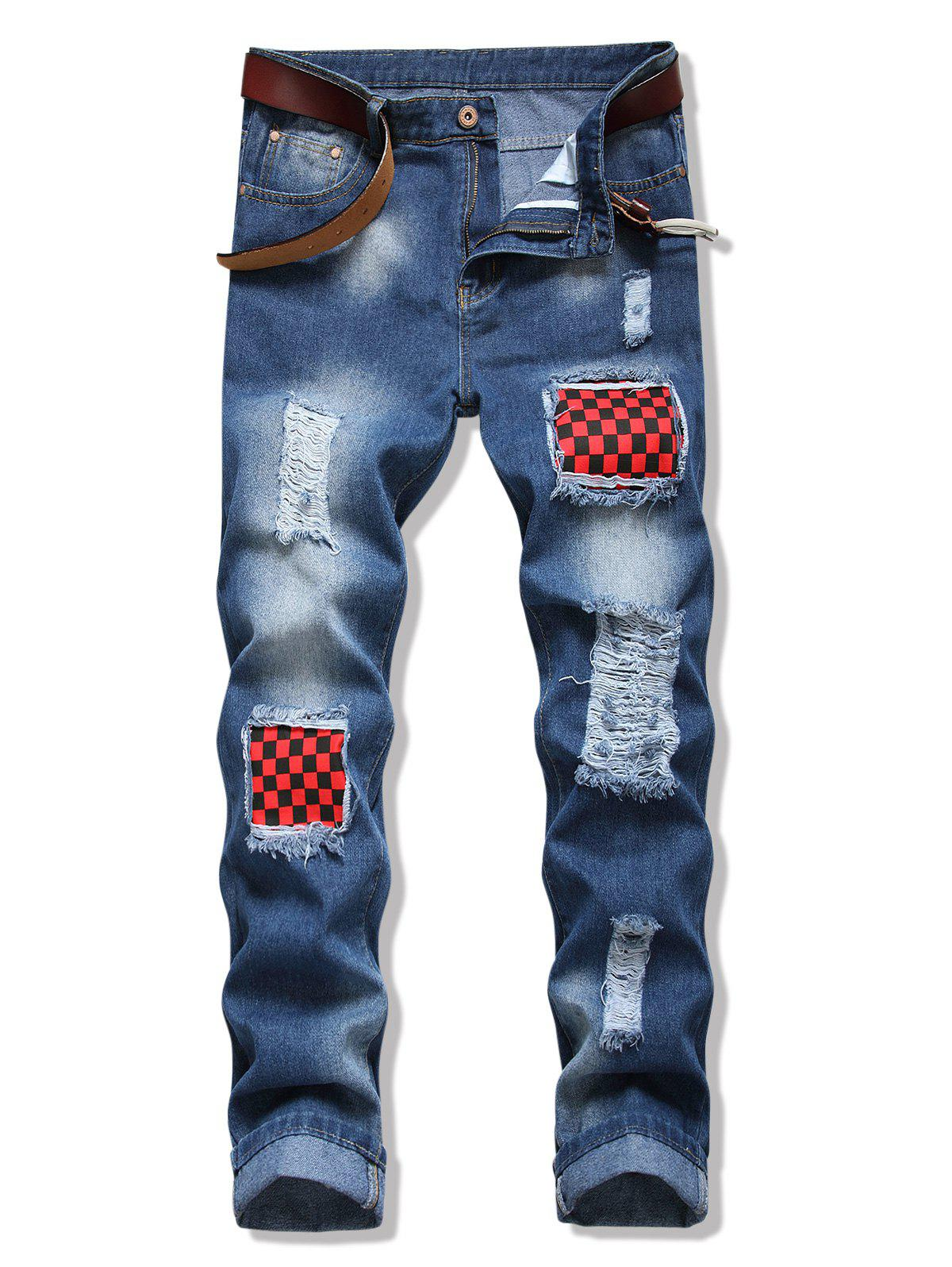 Distressed Checkerboard Patchwork Long Jeans - DENIM BLUE 36