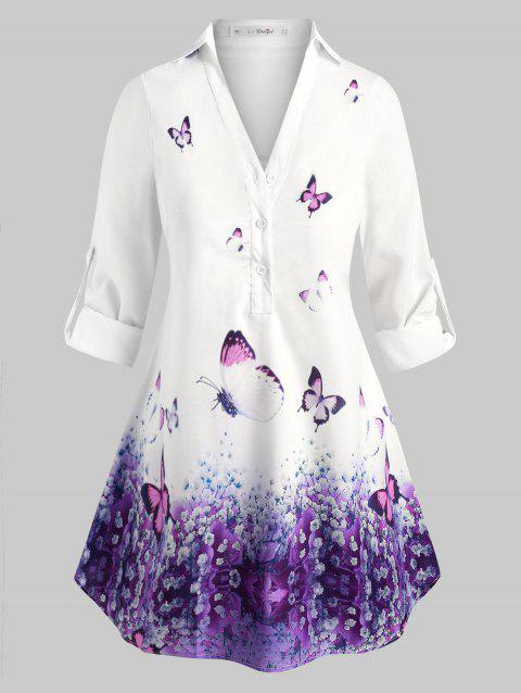 Plus Size Butterfly Print Long Sleeves Blouse