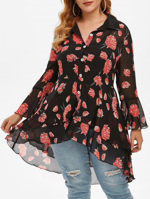 Plus Size Floral Print High Low Flounce Blouse and Tank Top Set