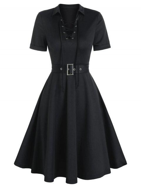 Lace-up Front Belted Flare Dress