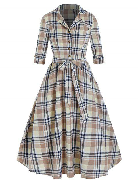 Plaid Print Half Button Belted Vintage Dress