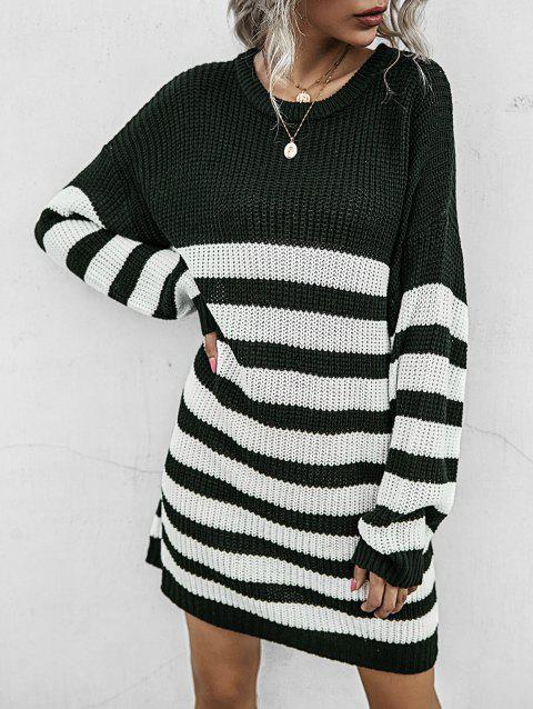 Two Tone Striped Drop Shoulder Sweater Dress
