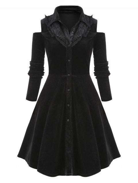 Plus Size Lace Insert Button Up Velvet Dress