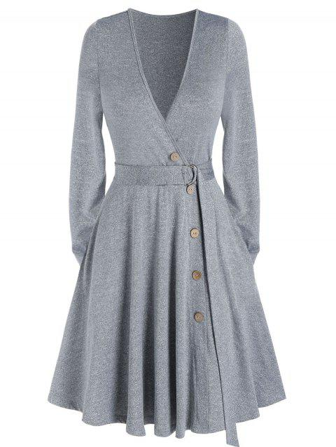 Plain Deep V Neck Pockets Belted Mini A Line Dress