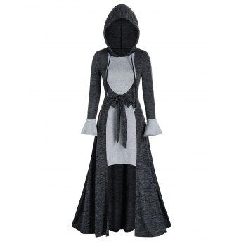 Two Tone Bowknot Hooded Long High Low Dress