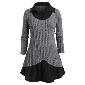 Plus Size Cable Knit Twofer Sweater