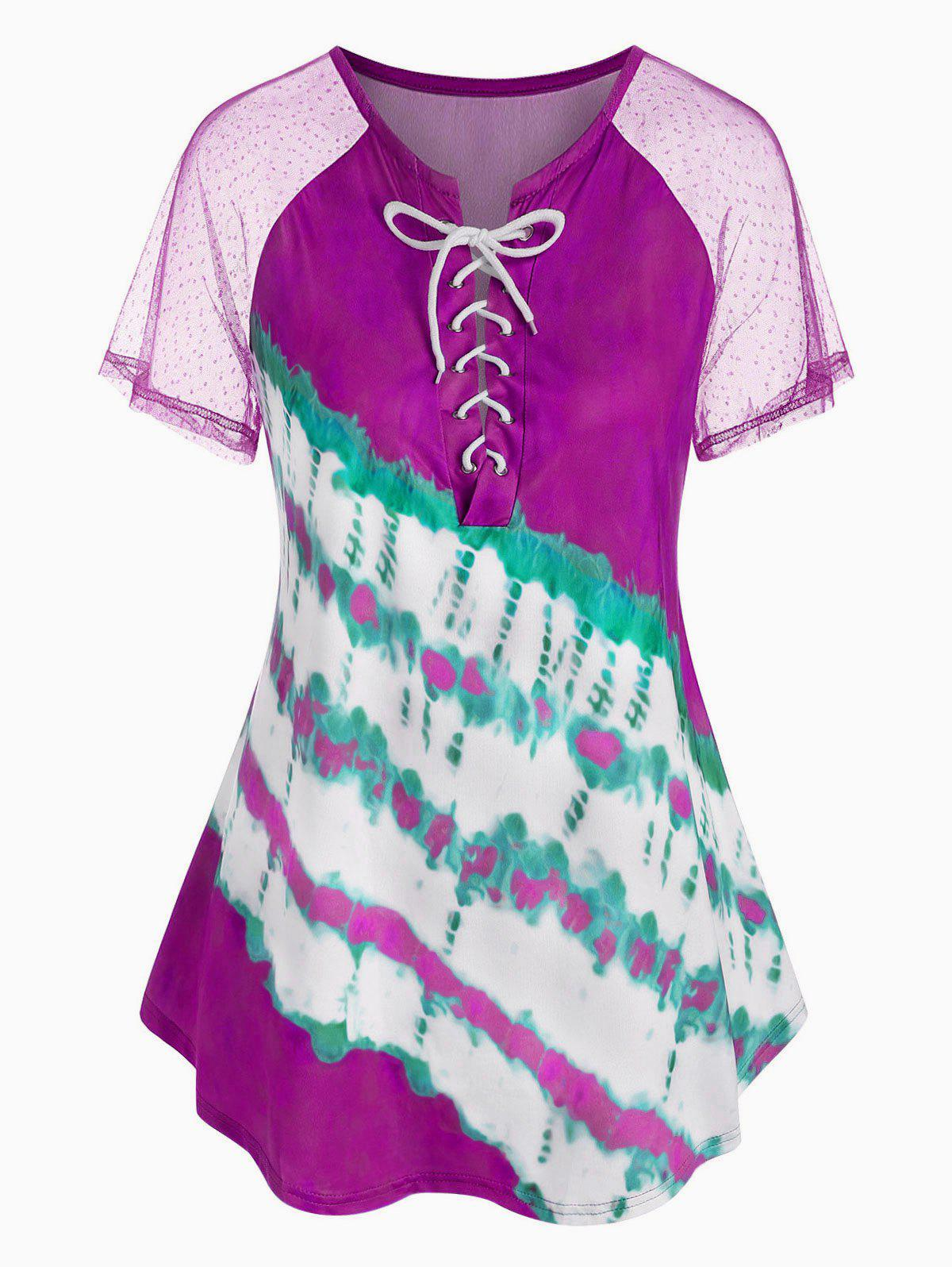 Plus Size Tie Dye Lace Up T Shirt - PURPLE L