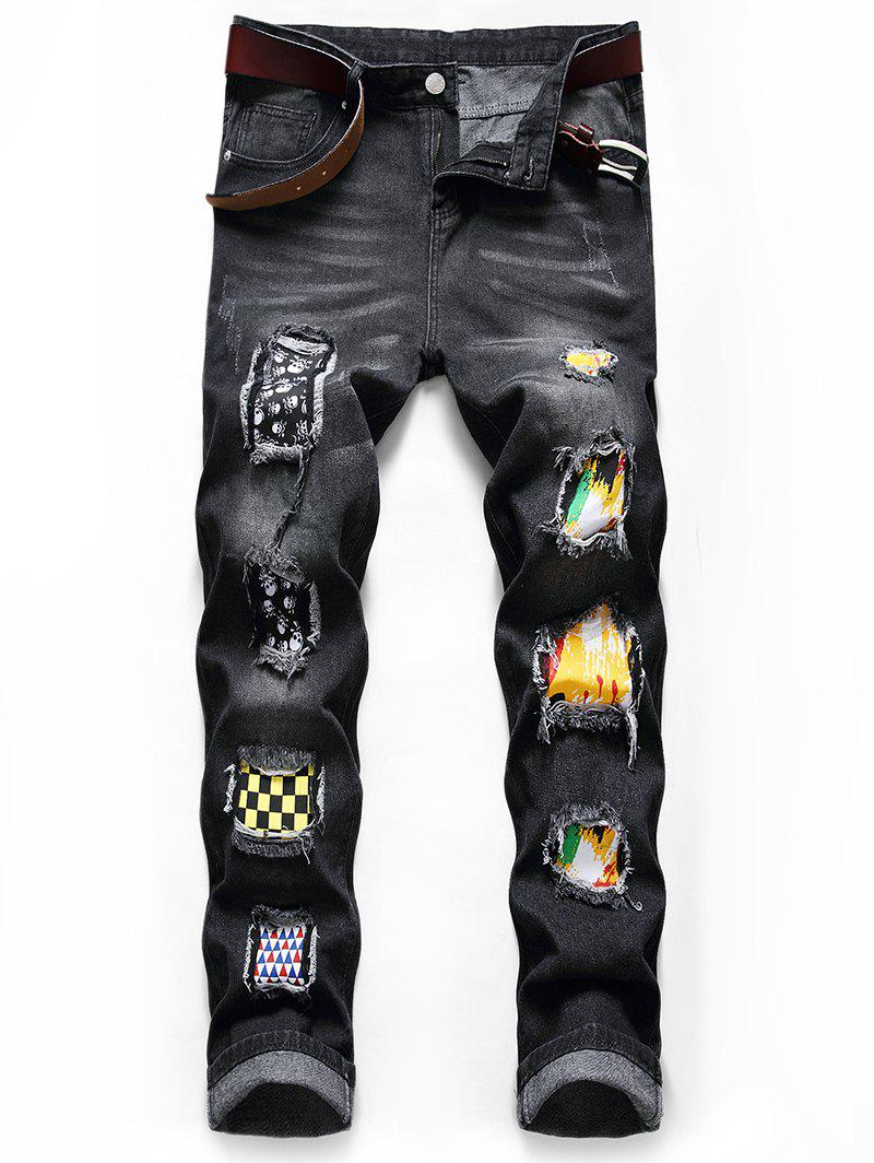 Skull Paint Patchwork Scratch Casual Jeans - BLACK 36