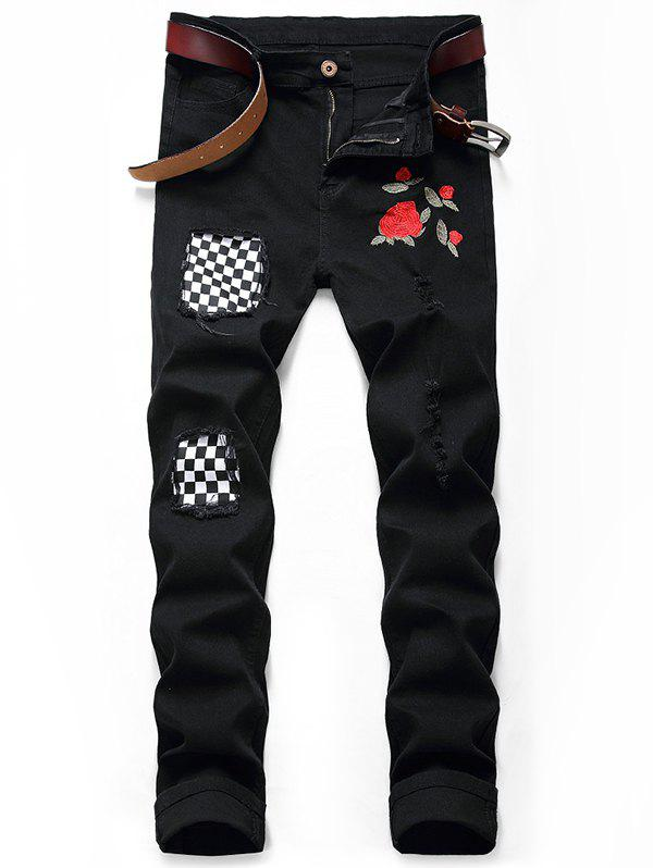 Embroidery Flower Patchwork Long Casual Jeans - BLACK 36
