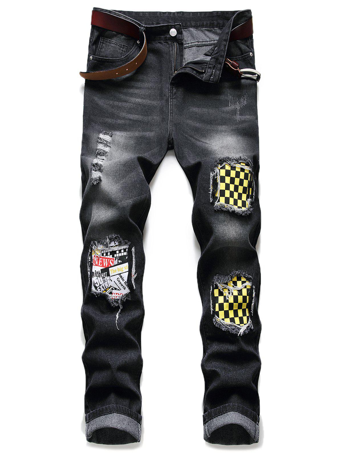 Ripped Patchwork Scratch Long Casual Jeans - BLACK 36